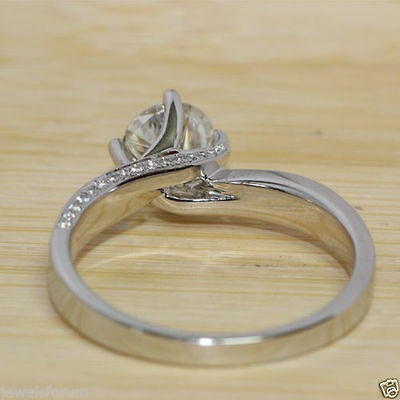 2.3Ct Brilliant Cut Diamond Solitaire Engagement Ring Solid 14K White Gold Over