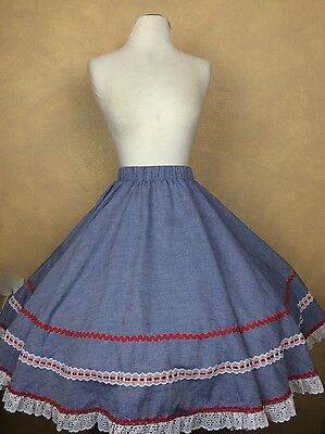 Jerri Bee Square Dance Skirt Blue w White Lace & Red Ric Rac Trim Side Pocket