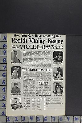 1920 VIREX ELECTRIC VIOLET RAY HEALTH MEDICAL BEAUTY quack med  AD ZL053