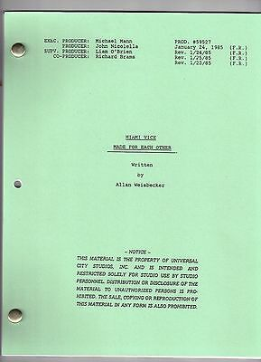 """MIAMI VICE show script """"Made For Each Other"""""""