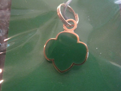 NEW Girl Scout TREFOIL CHARM green GOLD-tone Jewelry Scout Leader Gift Multiple