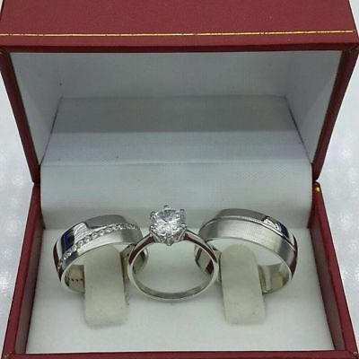10k White Gold Diamond Rings Set Wedding Bridal Band Trio His Her Men Womens