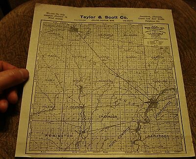 Antique WOOD COUNTY Wisconsin Ad MAP