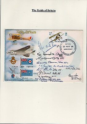 10 Hand Signed RAF Battle of Britain Heroes FDC WW2 Pilots