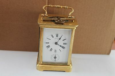 Antique French brass time &alarm carriage clock-bronze, gold plated