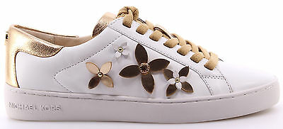 Women's Shoes Sneakers MICHAEL KORS Lola Leather Optic White Gold Nappa New