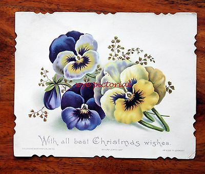 Good Victorian Christmas Card S. Hildesheimer No 1686 Pansies Yellow And Blue