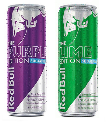 NEW 2017 Red Bull Sugar Free - The Purple & Lime Edition - 1x Ea Full 12 oz Cans