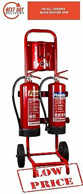 Mobile Fire Extinguisher Compact Double Trolley / Stand