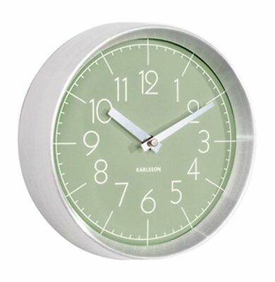 Karlsson CONVEX WALL CLOCK Aluminium Case JUNGLE GREEN Face 22cm diam