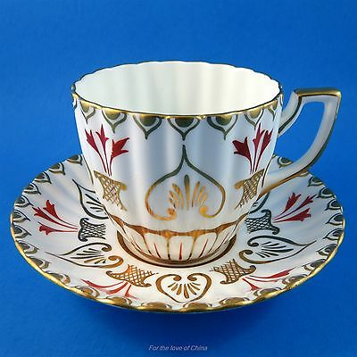 Flutted Gold Design with Red Accents Royal Chelsea Tea Cup and Saucer Set