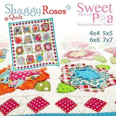 Shaggy roses quilt 4x4 5x5 6x6 7x7 in the hoop machine embroidery design