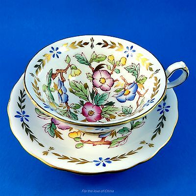 Painted Royal Chelsea Rich Floral Tea Cup and Saucer Set