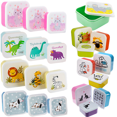 Set Of 3 Children's Kids Plastic Snack Lunch Boxes Sandwich Food Storage Box