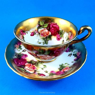 """Rich Gold Border with Roses """"Golden Rose"""" Royal Chelsea Tea Cup and Saucer Set"""