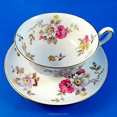 Pretty Pink & White Floral Royal Chelsea Tea Cup and Saucer Set