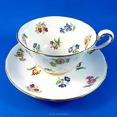 Small Colorful Flower Bouquets Royal Chelsea Tea Cup and Saucer Set