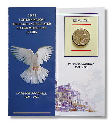 1995 UK £2 coin WWII Dove of Peace Presentation Pack Royal Mint