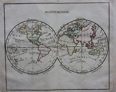 Original antique map THE WORLD 'MAPPEMONDE' HEMISPHERES, Brion de la Tour, 1774