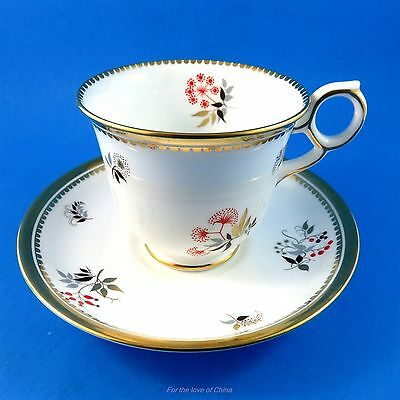 Beautiful Gold & Red Floral Royal Chelsea Tea Cup and Saucer Set