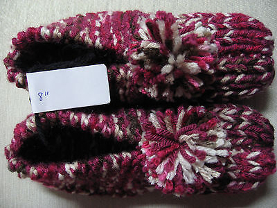 """New Amish Handmade Knit House Slippers Burgundy Mix Womans Sm Mans XX Sm 8"""""""
