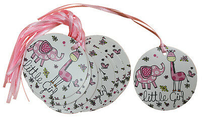 50 x PINK LITTLE GIRL Gift Tags & Ribbon - Baby Shower New Baby Birthday Party