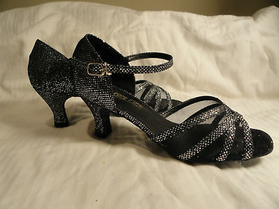 "Very Fine ballroom latin dance shoes NEW black sparkle size 5-10 2.5"" heel"