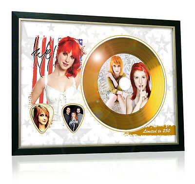 Hayley Williams Paramore Flag Style Signed Gold Disc Display