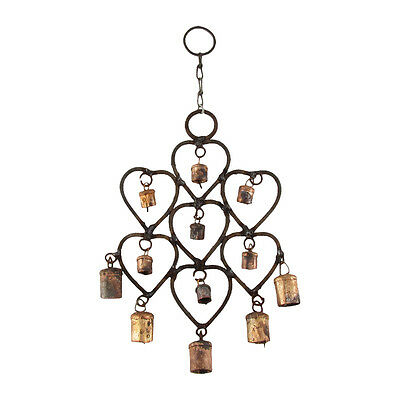 Metal Heart 12 Bell Wind Chime Outdoor Rustic Yard/Garden/Patio Decor Windchime