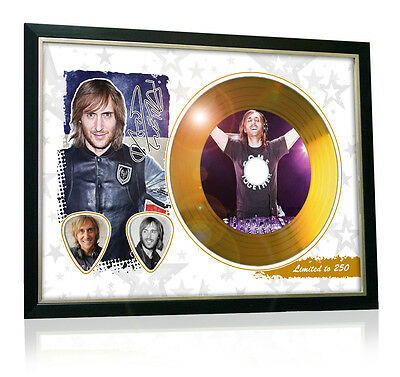 David Guetta Flag Style Signed Gold Disc Display