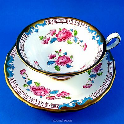 Handpainted Pink and Blue Floral Design Royal Chelsea Tea Cup and Saucer Set