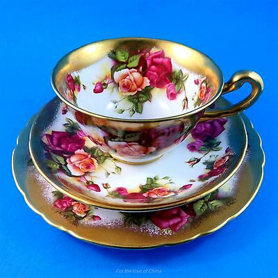 Rich Gold Golden Rose Royal Chelsea Tea Cup, Saucer and Plate Trio Set