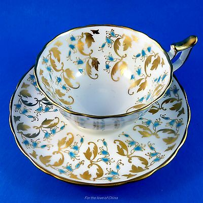 Handpainted Blue and Gold Design Royal Chelsea Tea Cup and Saucer Set