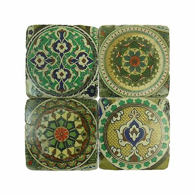 Set Of 4 Vintage Moroccan Style Ceramic Cork Backed Coasters 10Cm X 10Cm X 1Cm