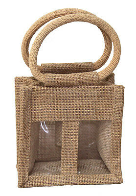 10 x Natural 2 Mini Bottle Jute Bags - Gift Bags for Wine, Condiments, Oils
