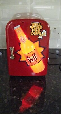 The Simpsons Duff Beer Light up Feature Mini Fridge Collectable - PAT tested