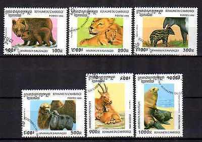 Cambodge 1996 Animaux (25) Yvert n° 1358 à 1363 oblitéré used