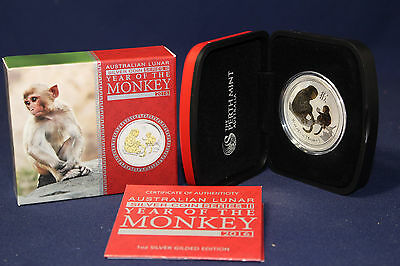 2016 Australia Lunar Year of Monkey 1 oz Silver GILDED Edition Coin W OGP COA