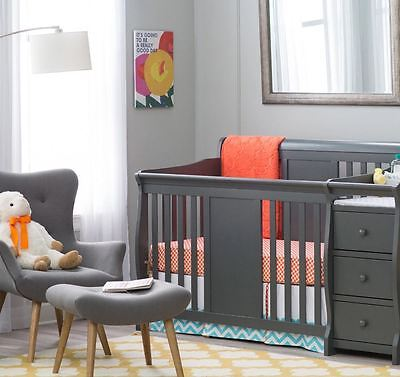 Baby Cribs with Changing Table Combo 4 in 1 Crib Set Infant Nursery Furniture