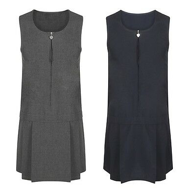 Girls School Pinafore Dress, Permanent Pleats, Navy & Grey School Uniform