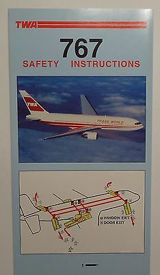 TWA Airlines    -   767      Safety Card       1991   - trifold  -  unused