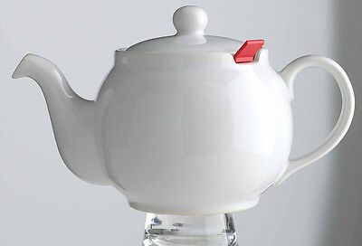Chatsford 2-Cup White Stoneware Teapot with Red Filter