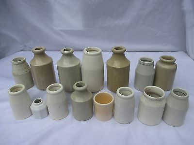 15x SMALL WHITE POTTERY CERAMIC POTS JARS BOTTLES VINTAGE OLD ANTIQUE
