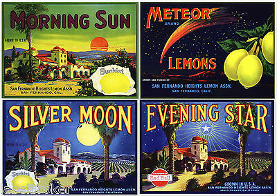 4 Original Lemon Crate Labels Vintage 1920 & 30S San Fernando Valley Astronomy