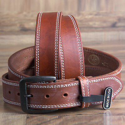 """32"""" 3D 1 1/2"""" Brown Mens Leather Stitched Western Basic Belt Brown Brass Buckle"""