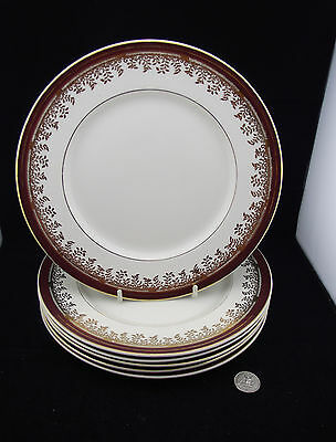 6 Myott Royalty Dinner Plates Burnt Red With Gold Trim Ready To Display