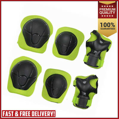 Kids Elbow Knee Wrist Safety Pads Skateboard Scooter Roller Skate Bicycle GREEN