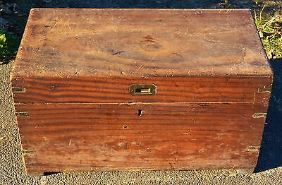 A 19th Century Military Campaign Camphor Wood Chest or Trunk with Brass Fittings