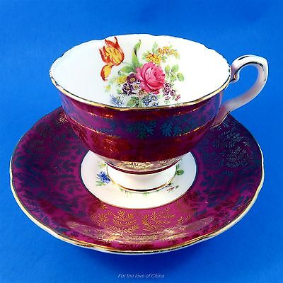 Plum and Gold Exterior with Floral Bouquet Royal Stafford Tea Cup and Saucer Set