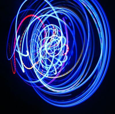 BLUE BLISS 4-LED Microlight Rave Orbital Trip Toy - LARGE ring grips